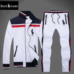 Homens casacos coloridos on-line-novo estilo 2 cores cavalo treino moda esportiva polo terno dos homens de alta qualidade dos homens primavera Outono de lazer jaqueta + terno de calça
