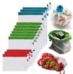 Bolsas de frutas online-12pcs / set S / M / L bolsas de productos de malla reutilizables Frutas vegetales Juguetes Bolsas de almacenamiento bolsas de compras Accesorios de cocina Misceláneas Organizador