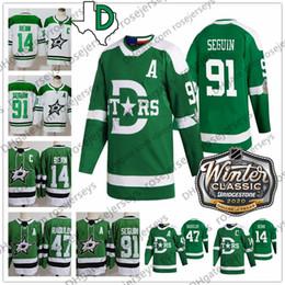 camisas de hóquei verde em branco Desconto 2020 Dallas Stars Winter Classic Jersey # 14 Jamie Benn 91 Seguin 47 Alexander Radulov verde em branco White Men Juventude Mulheres Criança Hóquei presente