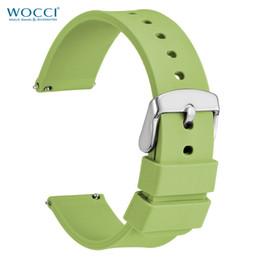 2019 correa de reloj de 14mm WOCCI Tea Green Silicone Band 14mm 18mm 20mm 22mm 24mm Para Relojes Deportivos Luces Delgadas Correas de caucho desodorizadas correa de reloj de 14mm baratos