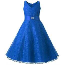 Canada Bleu marine pas cher robes de fille de fleur dentelle perlée Appliqued princesse une ligne sans manches enfants en bas âge robe de première communion supplier appliqued royal blue flowers Offre