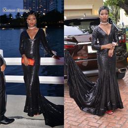 robe de soirée fourreau classique Promotion 201 classique noir paillettes gaine robe de bal balayage manches longues robes de soirée sexy col en v robe de soirée