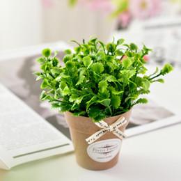 Ceramiche piante artificiali online-Pianta di fiori artificiali Menta piperita Erba + Vaso in ceramica Vaso Mini Desktop Bonsai per soggiorno Giardino Decorazione casa colonica