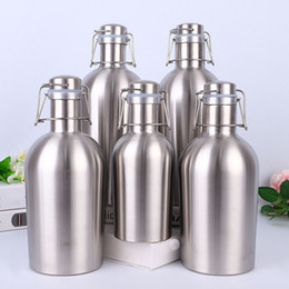 bottle whiskey flask Coupons - Stainless Steel Hip Flasks 5 Style Beer Growler Swing Whiskey Cold Beer Bottle With Lid Hip Flask Wine Pot Kitchen Dining Bar WX9-263