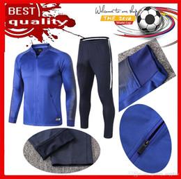 bd031453c6a14 2018 2019 Francês duas estrelas camisa de treino de futebol Formação azul  branco de manga comprida calça MBAPPE POGBA 18 19 azul escuro CASACO  JAQUETA ...