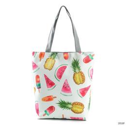 Bolsas de crema online-Nuevo patrón de frutas Impresión de piña Señora Paquete de un solo hombro Pequeña sandía fresca Helado Literatura Mujer Paquete de tela