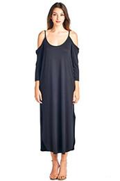 Maxi kleid modern online-Modernes Kiwi Delina schulterfreies Langarm-Maxikleid mit Seitentaschen (S-3X)
