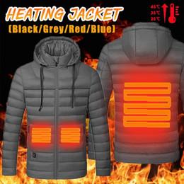 Abrigo largo térmico online-Senderismo Calefacción chaqueta Hombres Mujeres chaqueta con capucha USB de fibra de carbono del cojín de calefacción de manga larga de la capa del invierno ropa térmica
