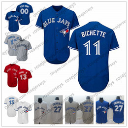 Pullover da baseball unisex online-Maglia personalizzata Blue Jays 2019 Toronto # 11 Bo Bichette 13 Lourdes Gurriel Jr. 14 Justin Smoak 15 Randal Grichuk 27 Guerrero Aaron Sanchez