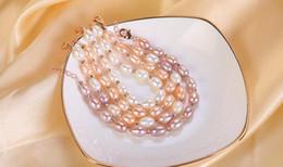 2019 natürliches perlenarmband gold 100% natürliche Frischwasserperlenplattierung Roségold Armband 7-8mm Perle Perlen Armband Frau Armband lila rosa weiß rabatt natürliches perlenarmband gold