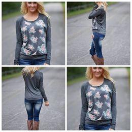2019 camiseta larga inferior Flor de fondo camisas de impresión digital camiseta de manga larga camisetas sexy para mujer cuello redondo deportes al aire libre 16fy f1 camiseta larga inferior baratos