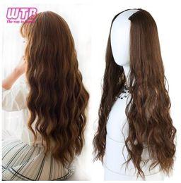 2019 falso cabelo longo marrom Longo Ondulado Culry Em Forma de U Clipe na Extensão Do Cabelo Das Mulheres 24