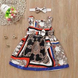vestido de invierno de la moda de los niños coreanos Rebajas ARLONEET Toddler Kids Baby Girl Summer Print Princess Dress Headband Clothes Set For Girl Breastfee Ding bra 19Fer22