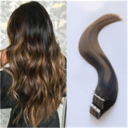 human hair extensions blonde highlights Promo Codes - 20pcs 50g Balayage Ombre Tape Hair Extensions Sombre Brown With Caramel Blonde Highlighted #2 6 Tape in Hair Extensions Thick Remy Human