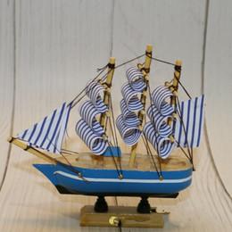 Modelo de vela online-Náutico de madera Velero Decoración de pasteles Velero Modelo velero Artesanía juguetes para niños Regalos de fiesta azul lienzo 6 7lc C1
