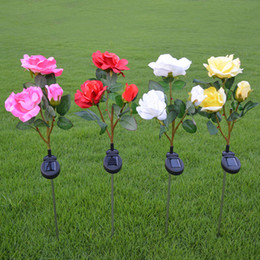 2019 flor de bulbo rosa NEW Solar ao ar livre movido a energia solar levou luz jardim de casa gramado flor paisagem lâmpada flor de bulbo rosa barato