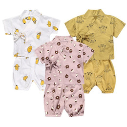 flower girl bear Promo Codes - INS Toddler Baby Boys Girls Pajamas Clothing Suits Summer Straps Sleepwear Cartoon Bear Chidlren Homewear Suits
