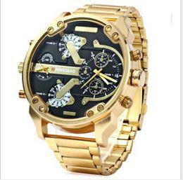 мужские наручные часы Скидка Мужские Спортивные Часы Новый Бренд DZ Модные Мужские Наручные Часы 55 ММ Большой Циферблат Авто Дата Мульти Часовой пояс Золотые Атмосферные Часы Relógio