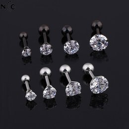 Медицинские серьги онлайн-3/4/5/6mm Medical Titanium Steel Zircon Studs Earrings Star Crystal Cartilage Earring Lobe Ear Piercing For Jewelry Women Men