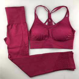 Sutiãs strappy on-line-Mulheres Yoga Conjunto de Roupas de Fitness Sportswear Ginásio Mulher Leggings Acolchoado Push-up Strappy Sports Bra 2 Pcs Ternos de Esportes