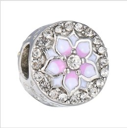 bijoux tropicaux en gros Promotion bracelet pandora argent sterling 925 Magnolia Bloom Charm pâle Cerise émail rose perle européenne fit collier 792085PCZ