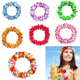 grinaldas havaianas Desconto Beach Party casamento flor de seda Flor havaiana Garland Colar Hula Leis festivo do partido Garland Artificial Colar Coroas Garland