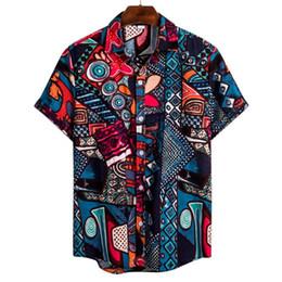 Chemise de plage en lin en Ligne-Hommes ethnique Vintage manches courtes Casual impression coton lin hawaïenne shirt loose Hawaii Fit Plus Taille plage Chemises hommes blouse