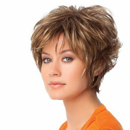 парик цвет градиента Скидка Hair Care Wig Stands Women's Fashion Wig Multicolor Short Haircut Curly Color Gradient Wigs 28cm Cosplay Party Feb13