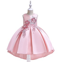 girls long cotton skirts Coupons - Children's wedding Girls princess dress word shoulder strap dress news lace openwork long-sleeved dress twill satin embroidered skirt
