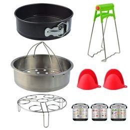 Molde de presión online-Pressure Cooker Accessories Set for Instant Pot Kitchen Wares with Springform Pan Eggs Racks Steamer Basket Oven Mitts Magnetic Cheat Sheets