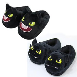 zapatillas de felpa para adultos Rebajas 2pcs / pair Furia nocturna sin dientes Cómo entrenar a tu dragón Zapatillas de interior Zapatillas de felpa Zapatillas de invierno cálido Zapatillas de casa para el hogar CCA11376 10 par
