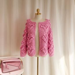 b9f21a2ec5 Autumn Winter Women Handmade Woolen Ball Sweater Cute Heart Pink Crochet Sweater  Loose Knit Tops Cardigan Coat Female