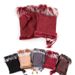 guantes de mano para niñas Rebajas Faux de las mujeres conejo de la piel niña de invierno sin dedos de muñeca de la mano del guante Half-dedos Guantes fiesta de Navidad de regalo TTA2128-3