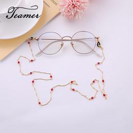 Cordones de oro rojo online-Teamer 78 cm Cadena de Gafas de Oro Rosa de Metal Mujeres Moda Gafas de Sol de Piedra Roja Gafas Cordón Sostener Correas Gafas Accesorios