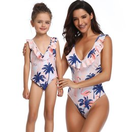 2244c84992188 Mommy and me swimsuits 2019 summer girls flamingos three printed siamese swimwear  kids falbala deep V-neck beach bathing suits F4816