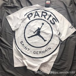 2019 x masculin USA Marque New Jumpman X PSG Collaboration T-shirts manches courtes T-shirt Jewel cou respirant hommes et femmes Mode extérieur Streetwear T-shirts promotion x masculin
