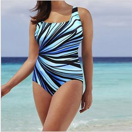 Große badeanzüge online-Frauen Badeanzug Große Verbundene Schwimmen Tragen Sexy Bikini Bikini Muster Badeanzug Streifen Design Mehr Farbe