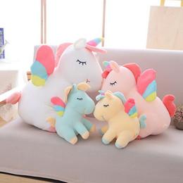 2019 abucheos lindos de la gorrita tejida Juguetes de peluche de animales para niños Rainbow Down Cotton Unicorn Dude Net Peluches de peluche para regalos de cumpleaños para niños