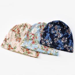 beanie fino Desconto 200 PÇS / LOTE Outono Fino Beanie Hat para As Mulheres Fashio Lace Flower Print Respirável Bonnet Turban Caps
