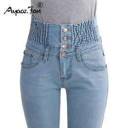 Ganga jeans elástica on-line-2019 Jeans Womens Cintura Alta Elastic Skinny Denim Calças Lápis Longo Plus Size 40 Calça Jeans Camisa Feminina Senhora Calças De Gordura MX190714