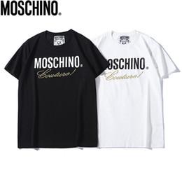 Nuevas tendencias de camisetas online-2019 nuevos cosidos moschinos diseñadores camiseta mujer luxurys camiseta cosida ORO carta cautelosa alta calidad moda mujer camiseta tendencia