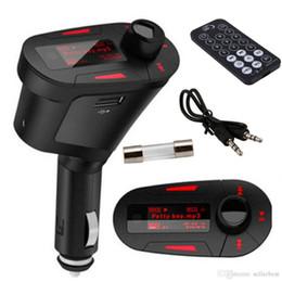 Wholesale Lecteur de couleur rouge rétroéclairage de voiture MP3 transmetteur FM sans fil avec USB pour fente pour carte SD MMC Drop Shipping en gros