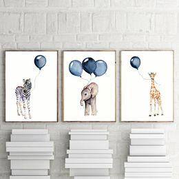 Palloni stampati animali online-Nursery Wall Art Boy Decor Regali Baby Animal Elephant Zebra Giraffe with Navy Blue Balloon Poster Watercolor Stampe per bambini