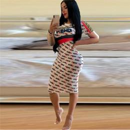 Estate F Lettera stampato vestito di un pezzo Donne Abiti aderenti Manica corta Ginocchio Lunghezza Gonne Fashion Street Night Club Vestiti S-XL C41501 da