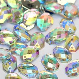 schemi di trasferimento di ferro liberi Sconti Wholesale-10 * 14mm quadrato ottagonale cristallo strass AB cucire su gemme acriliche Flatback pietre di strass di cristallo per decorazioni di abbigliamento