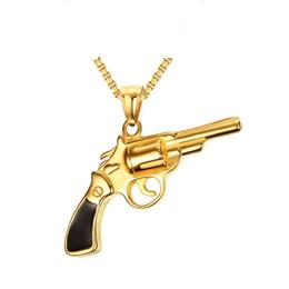 Regalos de pistola para hombres online-Color oro, hombres de moda simple, de acero inoxidable, colgante, collar, enlace, cadena, regalo de la joyería para hombres, niños J771