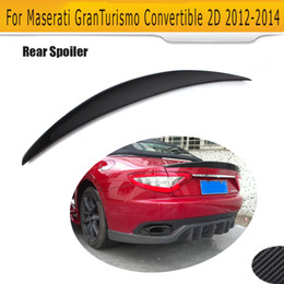 carbon fiber lips Coupons - Carbon Fiber Auto Rear flat Trunk Spoiler Lip Wing for Maserati GT GranTurismo Convertible 2 Door Only 12-14 Black FRP Car Cover