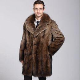 Autumn faux mink leather jacket mens winter thicken warm fur leather coat men loose jackets jaqueta de couro fashion brown 4XL