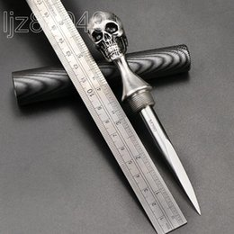 2019 osso de damasco EDC ferramenta de mão do crânio faca de perfuração lâmina M390 com cabo de aço inoxidável ferramentas de sobrevivência lâmina fixa faca de chá punhal