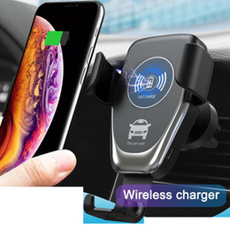 gps grátis blackberry Desconto Qi gravidade carregador sem fio para iphone x xr xs max 8 plus 10 w carregador de carro sem fio rápido almofada de carregamento para samsung s9 suporte do carro carregador